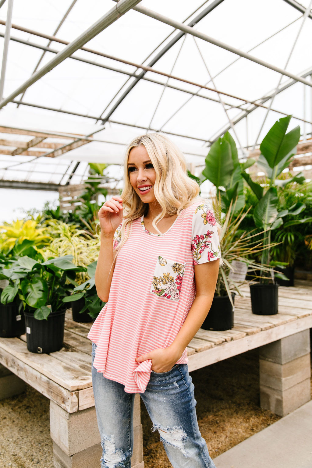 Floral Accent Striped Raglan Top