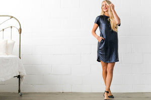 Hidden Depths Sequined Dress In Midnight Blue - ALL SALES FINAL