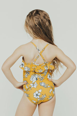 Kids Yellow Floral Ruffle One Piece