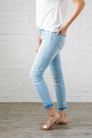 Light As Air Cropped Distressed Skinny Jeans