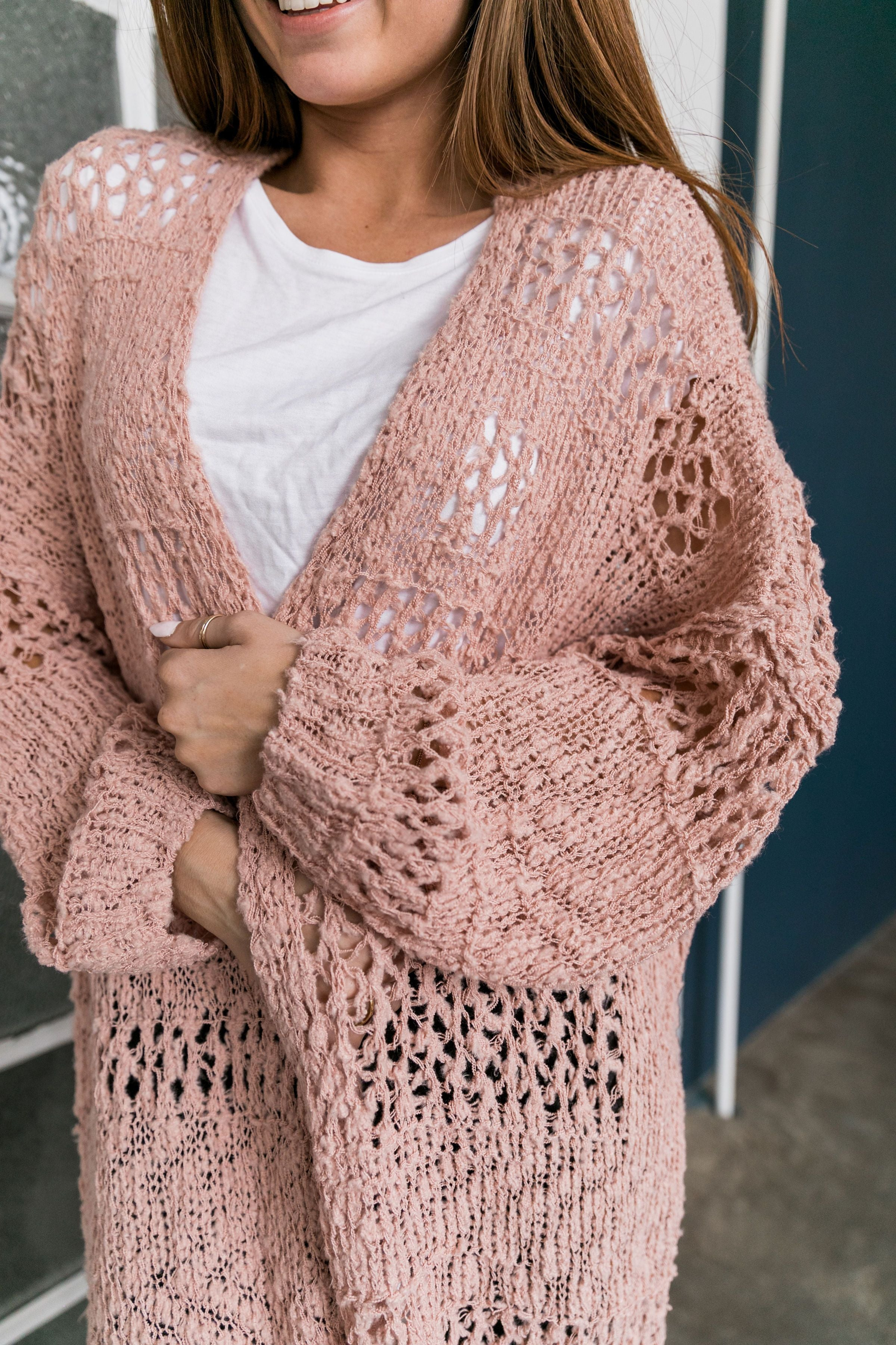 Nostalgic Knit Cardigan In Blush