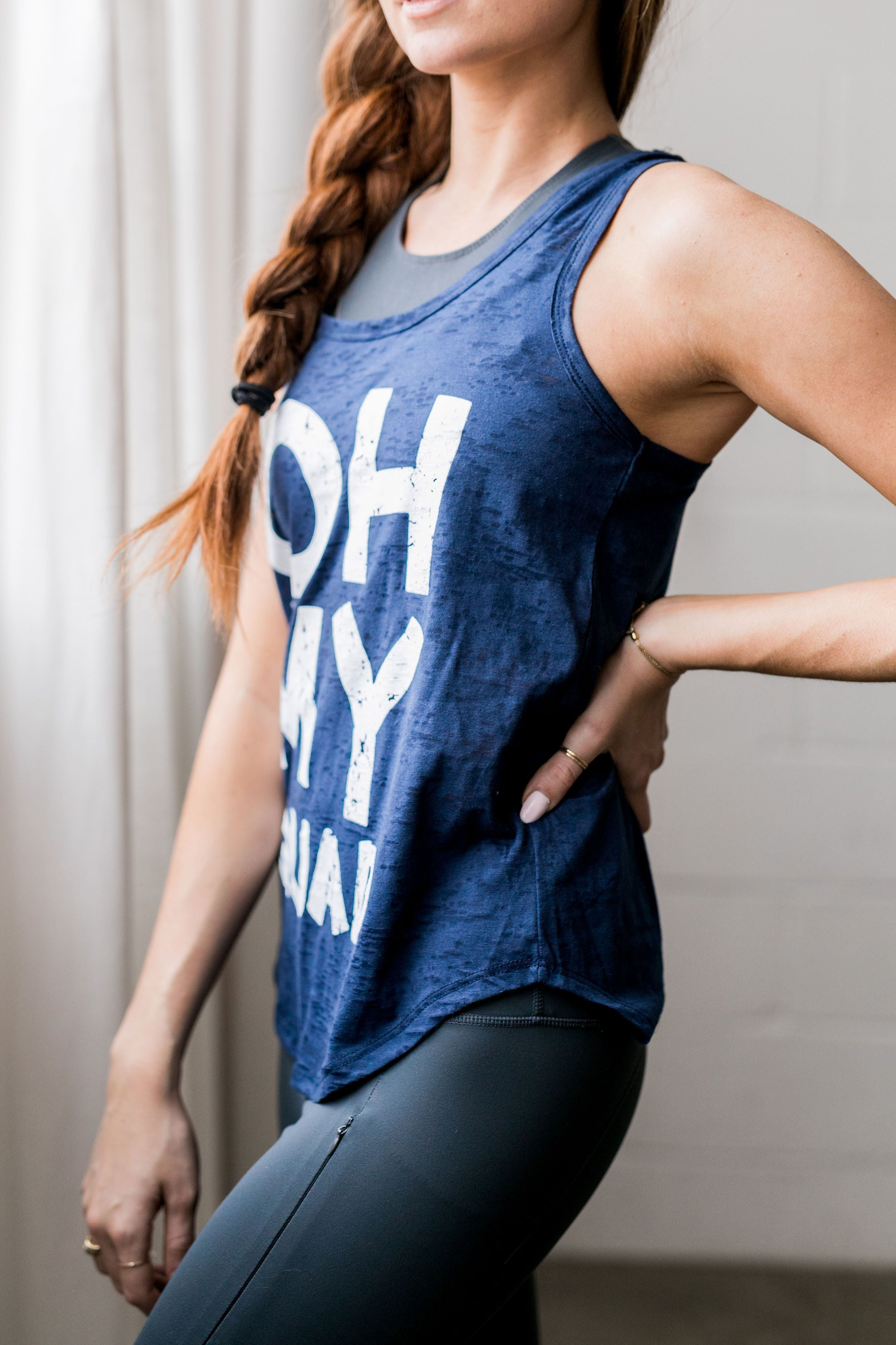 Oh My Quad Burnout Tank In Navy - ALL SALES FINAL