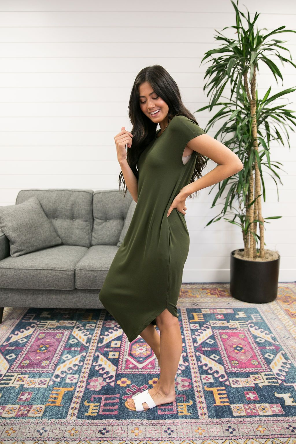 Olive Angled Hem T-Shirt Dress