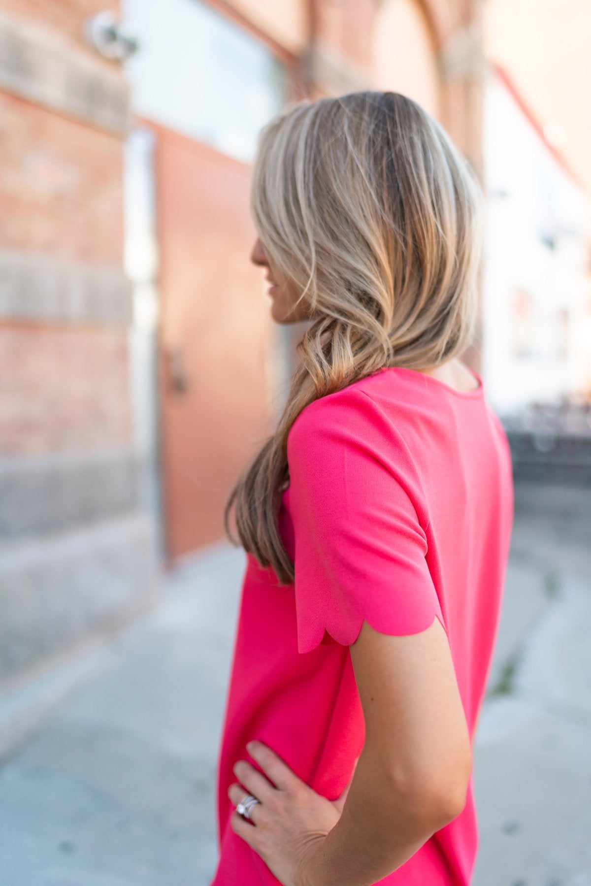 Pink Scalloped Top