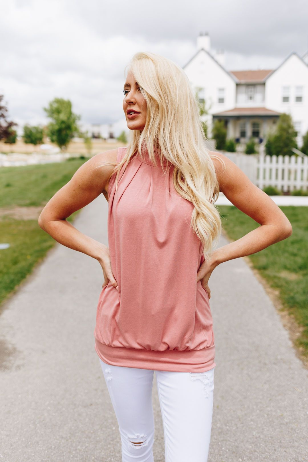 Pleats A Plenty Sleeveless Top In Dusty Rose