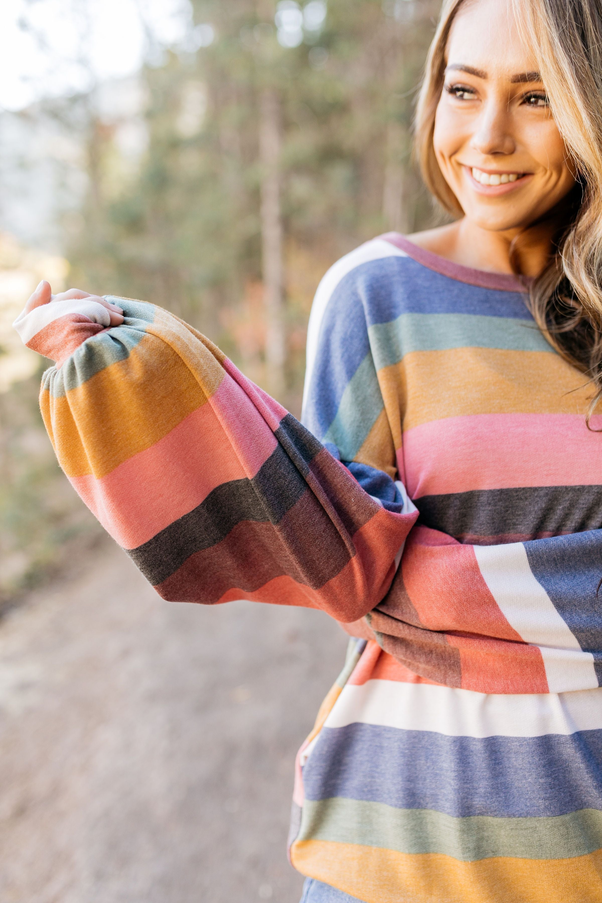 Pockets And Puffs Soft Striped Top