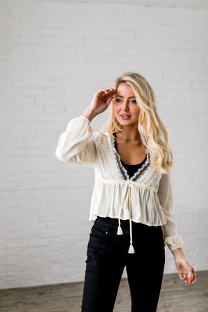 Pretty Peplum Cropped Top