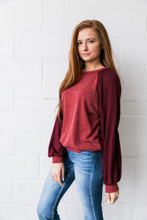 Ramona Raglan Bubble Sleeve Sweatshirt - ALL SALES FINAL
