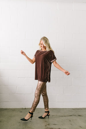 Rockin' Rockette Sequined Leggings In Bronze