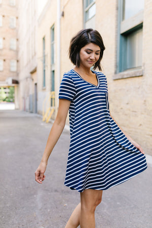 Sassy Striped T-Shirt Dress