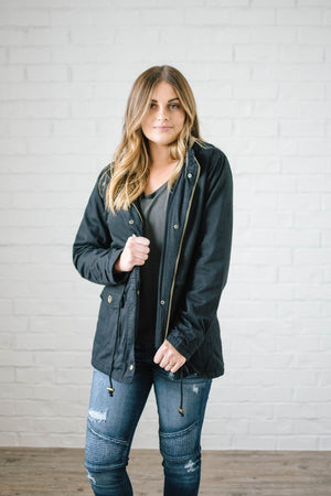 Scouting It Out Fur Lined Jacket in Black