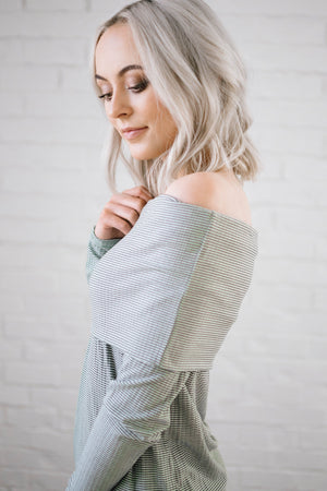 Shoulders and Stripes Top in White and Olive