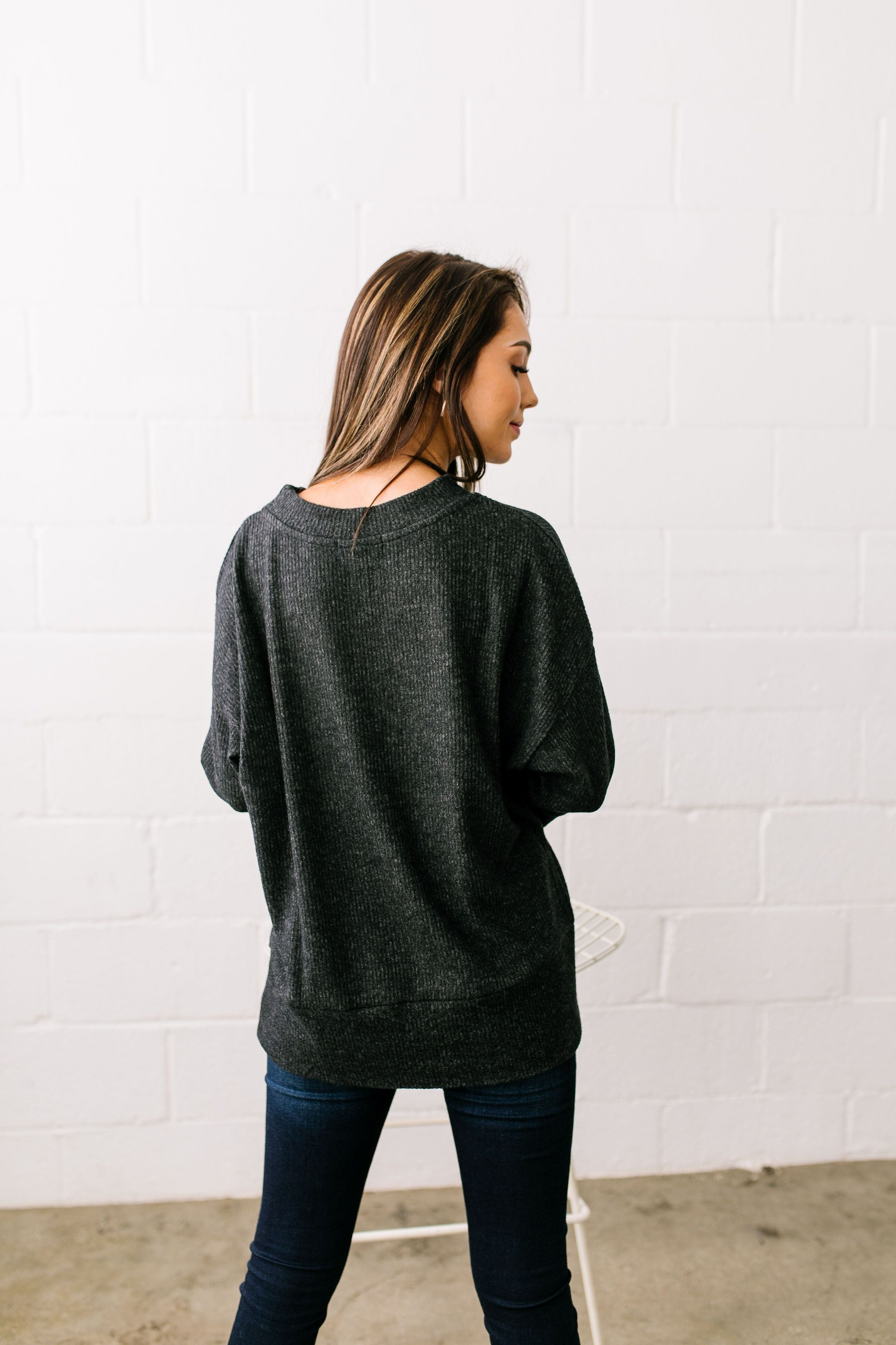 Soft Hearted Fuzzy Three-Quarter Sleeved Top In Charcoal - ALL SALES FINAL