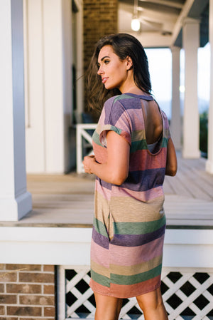 Striped Open Back Dress In Grape