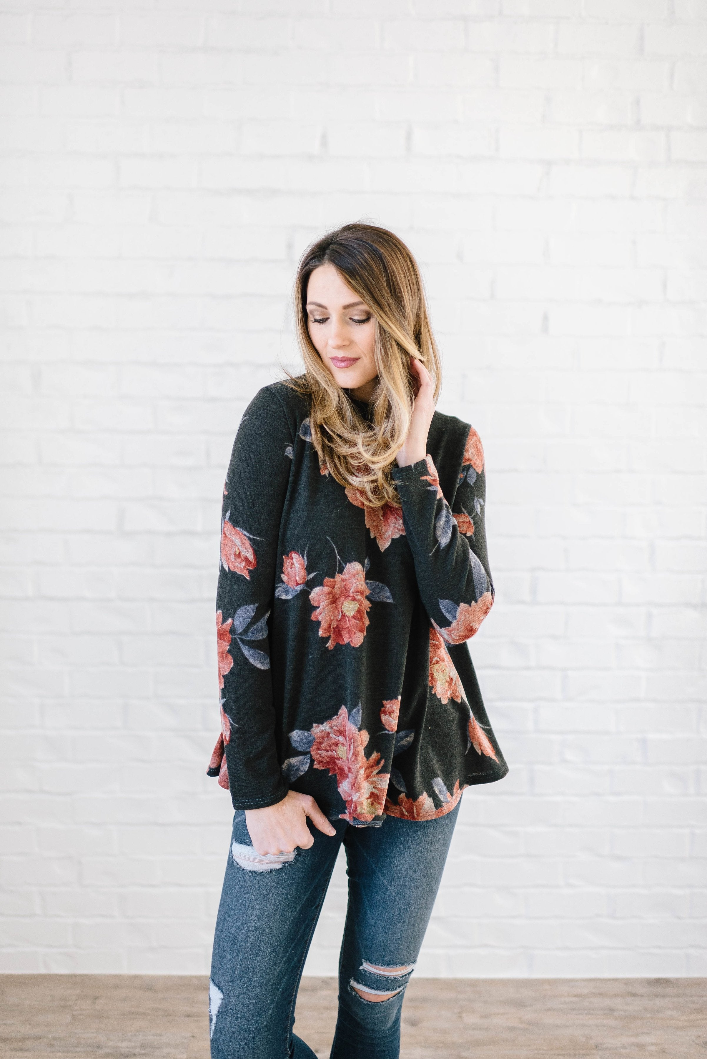 The Peony Knit Top in Charcoal