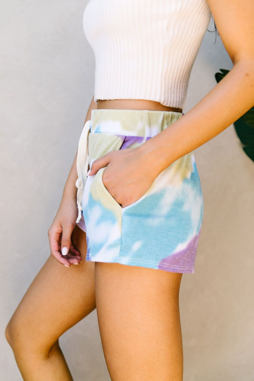 Tie Dye Swirls Shorts In Purple