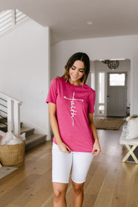 Vertical Faith Graphic Tee In Heathered Berry - 3/5/2020