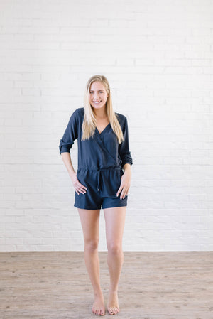 Walk With Me Romper in Navy