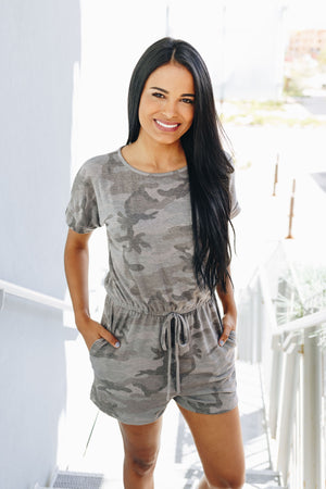 Washed Out Camo Romper