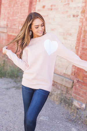 Wear Your Heart On Your Sleeve Sweater In Pale Pink