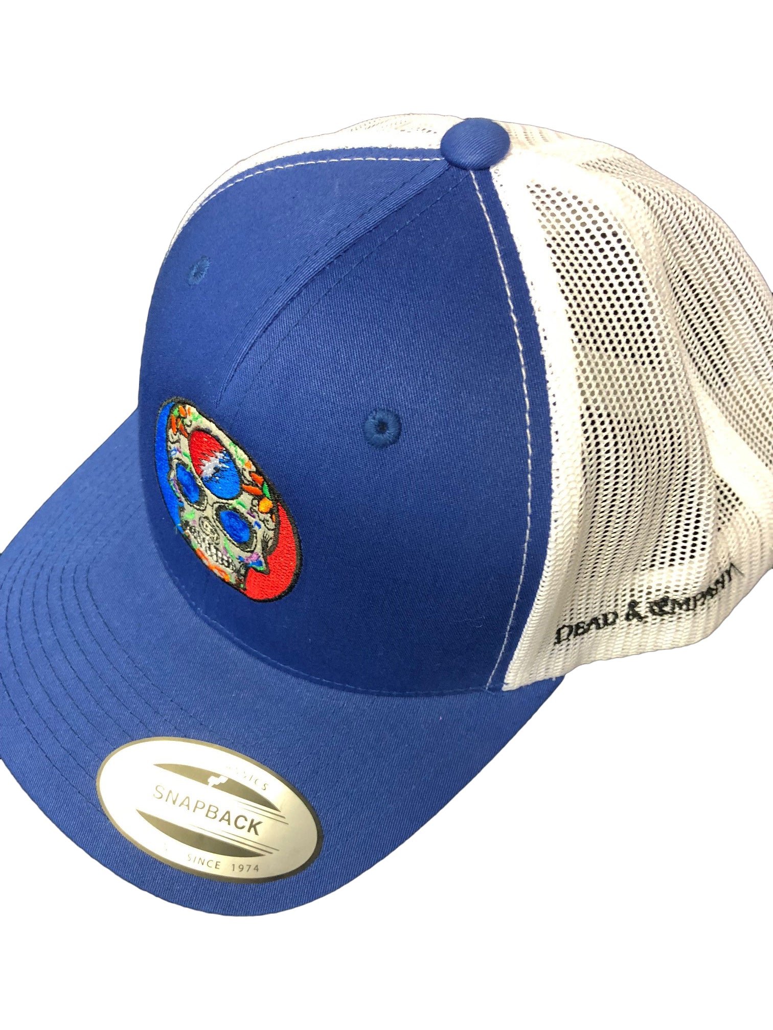 2018 Dead and Company Blue and White Trucker Hat side
