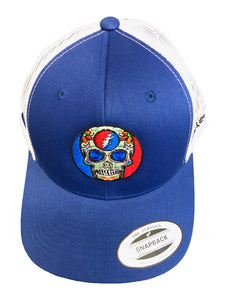 2018 Dead and Company Blue and White Trucker Hat front