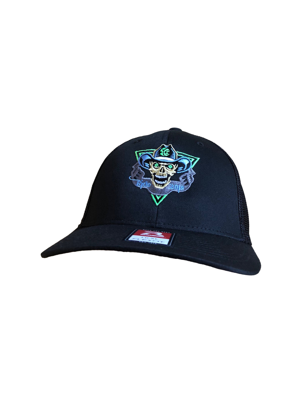2018 To Hell U Ride Richardson Trucker Hat 110 Black front with Black Mesh back Flex Fit Hat Front