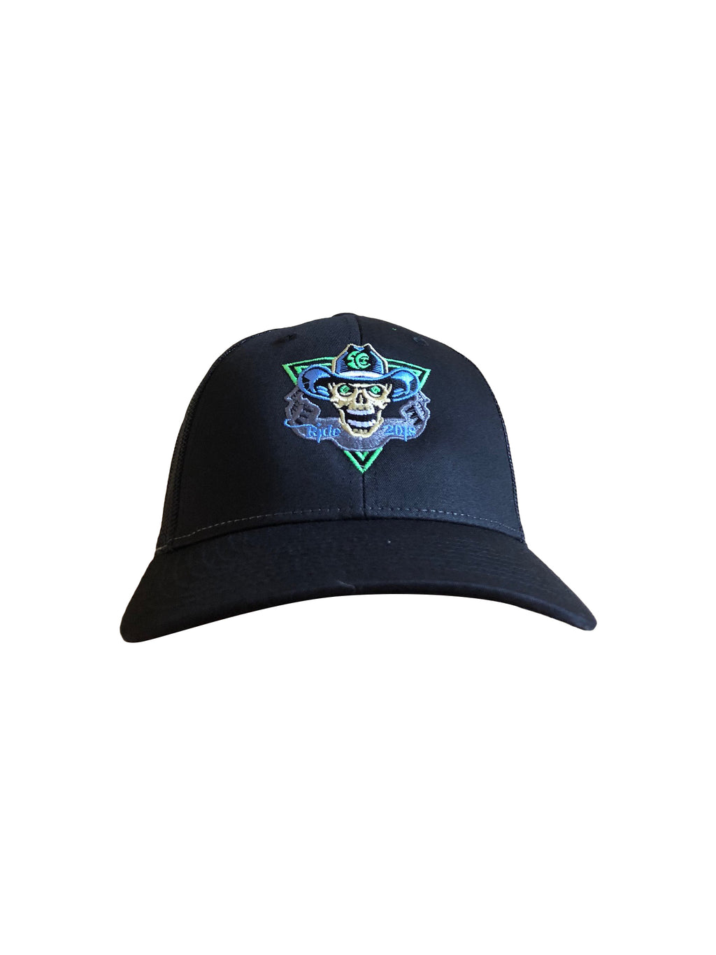 2018 To Hell U Ride Richardson Trucker Hat 115 Black Solid Front with Black Mesh Back Adjustable Flap One Size Fits All Front
