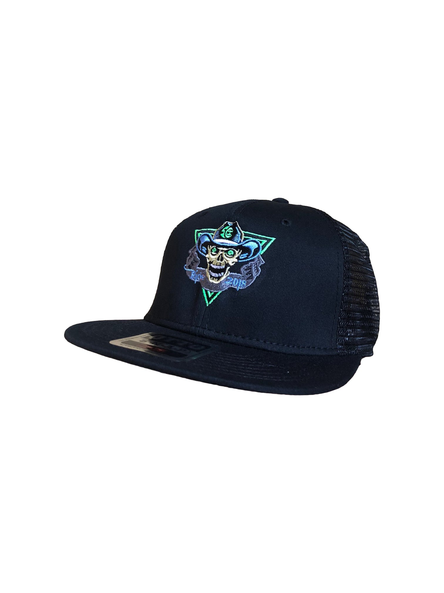 2018 To Hell U Ride Otto Trucker Hat Black Solid Front with Black Mesh Back Adjustable Flap One Size Fits All Side