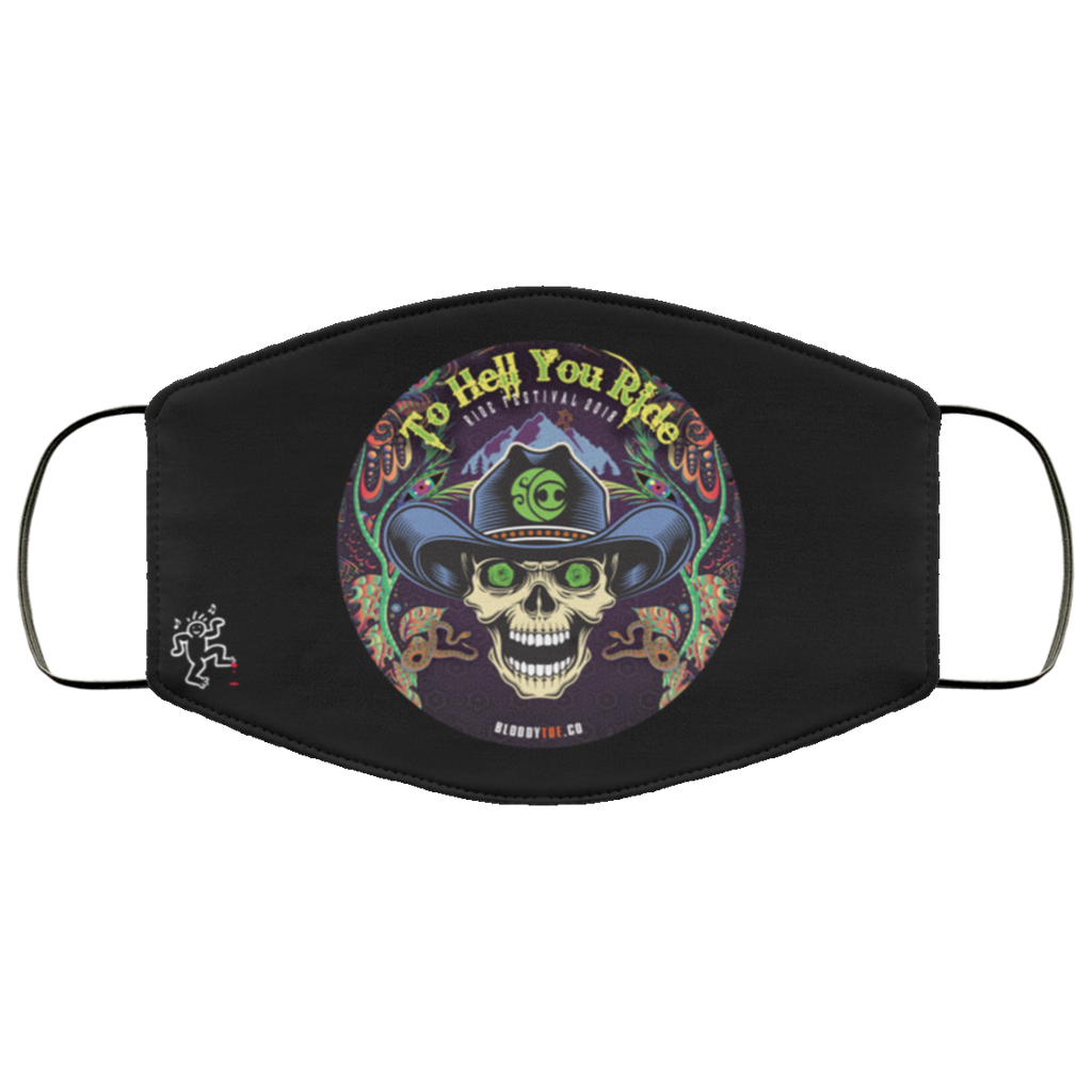 To Hell You Ride Machine Washable Custom Design Face Mask