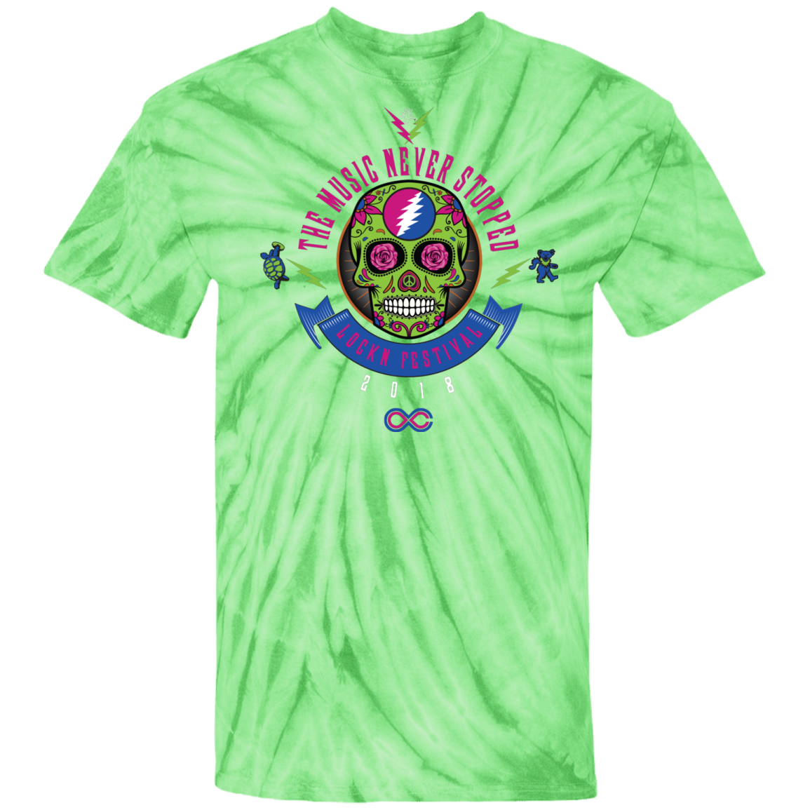 "2018 Lockn' Festival ""The Music Never Stopped"" 100% Cotton Tie Dye T-Shirt Design on Front - 12 Color Options"
