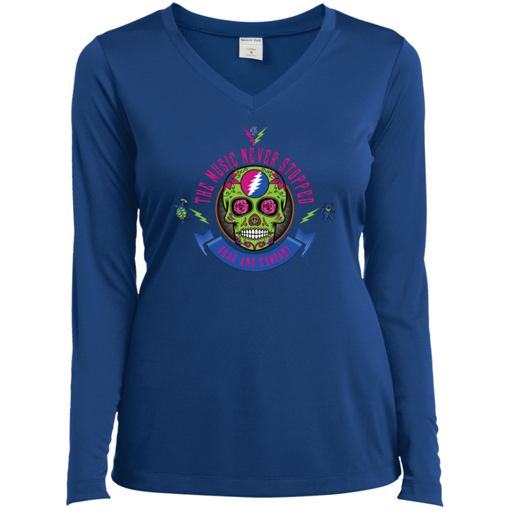 """The Music Never Stopped"" Ladies' Long Sleeve Performance V-Neck"