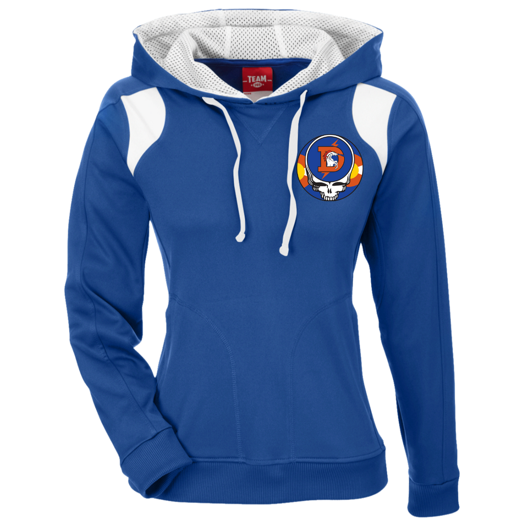 Broncos Steal Your Face Ladies' Embroidered Colorblock Hoodie