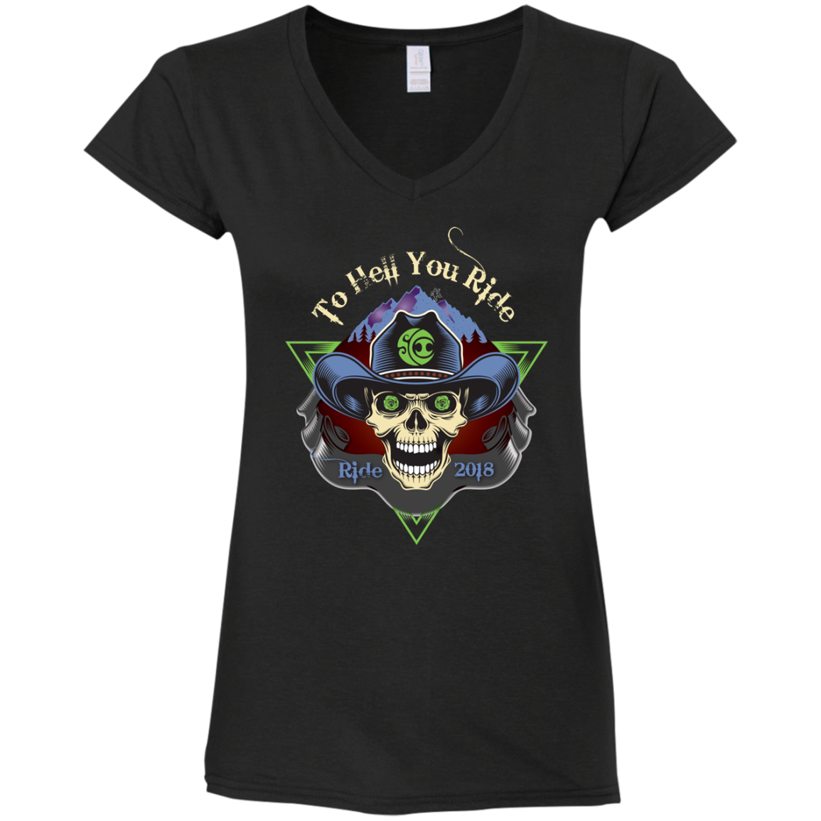 "2018 Ride Festival ""To Hell U Ride"" Gildan Ladies' Fitted Softstyle V-Neck - 8 Color Options"