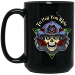"""To Hell U Ride"" USA Biker 15 oz. Black Mug"