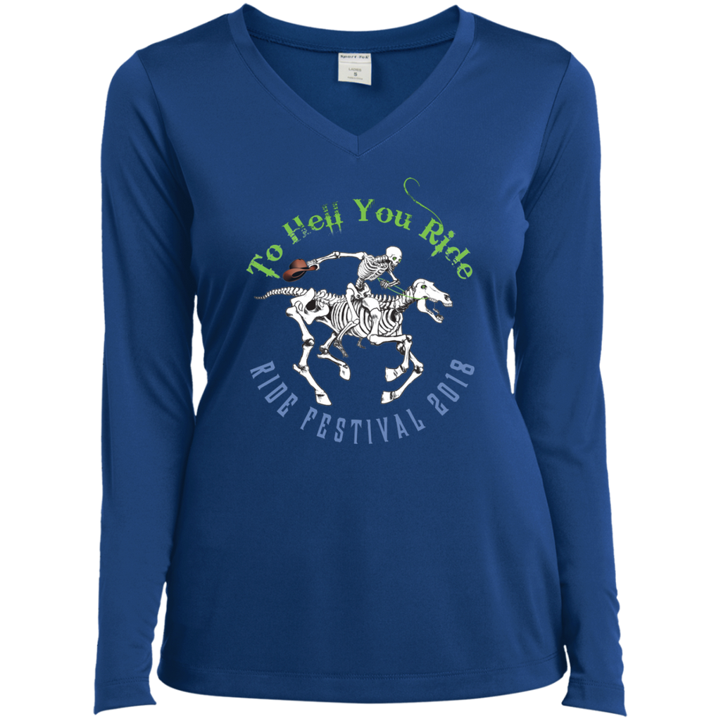 "2018 Ride Festival ""Skully Rider"" Ladies' Long Sleeve V-Neck"