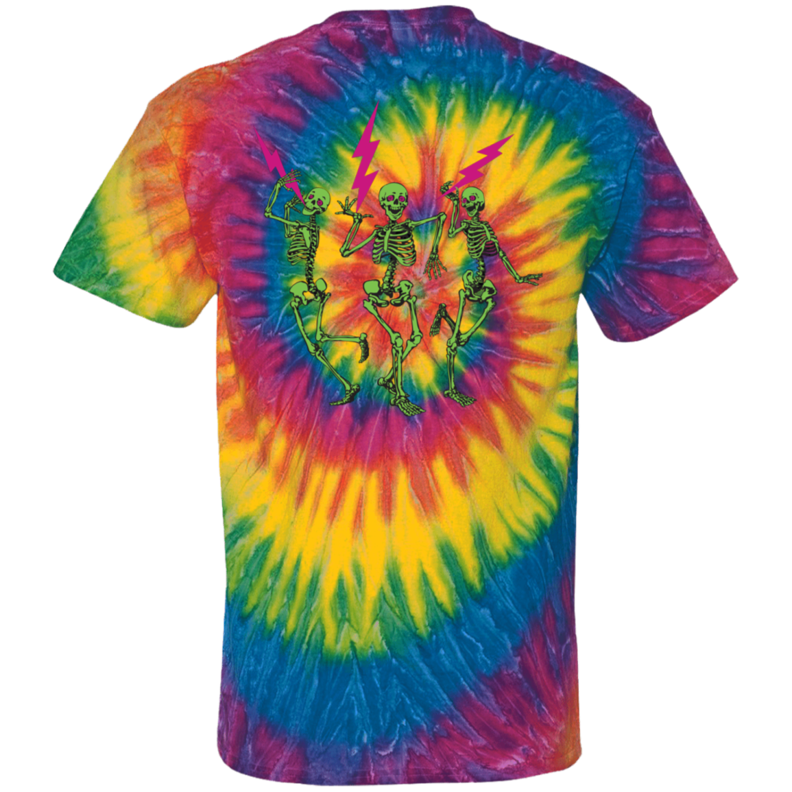 """The Music Never Stopped"" 100% Cotton Tie Dye Design Front & Back"