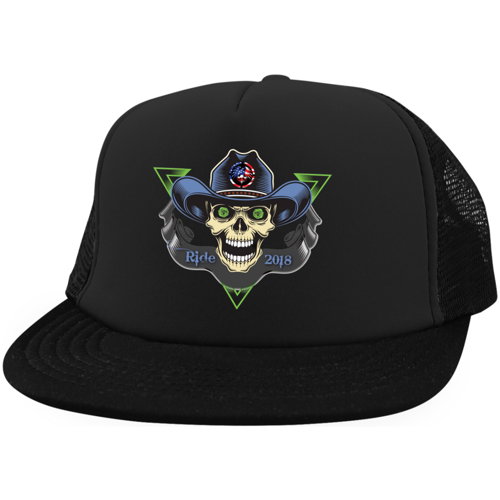 """To Hell You Ride"" USA Biker District Trucker Hat with Snapback"
