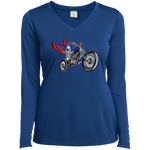 """Skully Biker"" USA Ladies' Long Sleeve Performance VNeck 9 Colors"