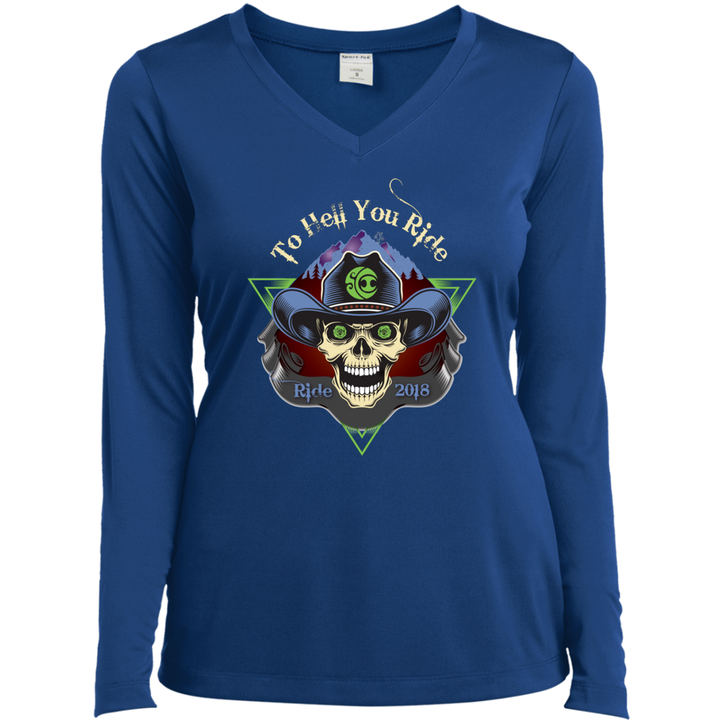 "2018 Ride Festival ""To Hell U Ride"" Ladies' Sport-Tek Long Sleeve Performance V-Neck T-Shirt - 9 Color Options"