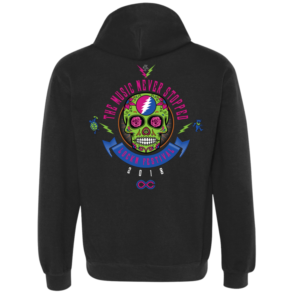 "2018 Lockn' Festival ""The Music Never Stopped"" Gildan Men's / Unisex 9 oz. Premium Hoodie - 7 Color Options"