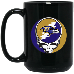 Ravens Grateful Dead Steal Your Face Design 15 oz. Black Mug