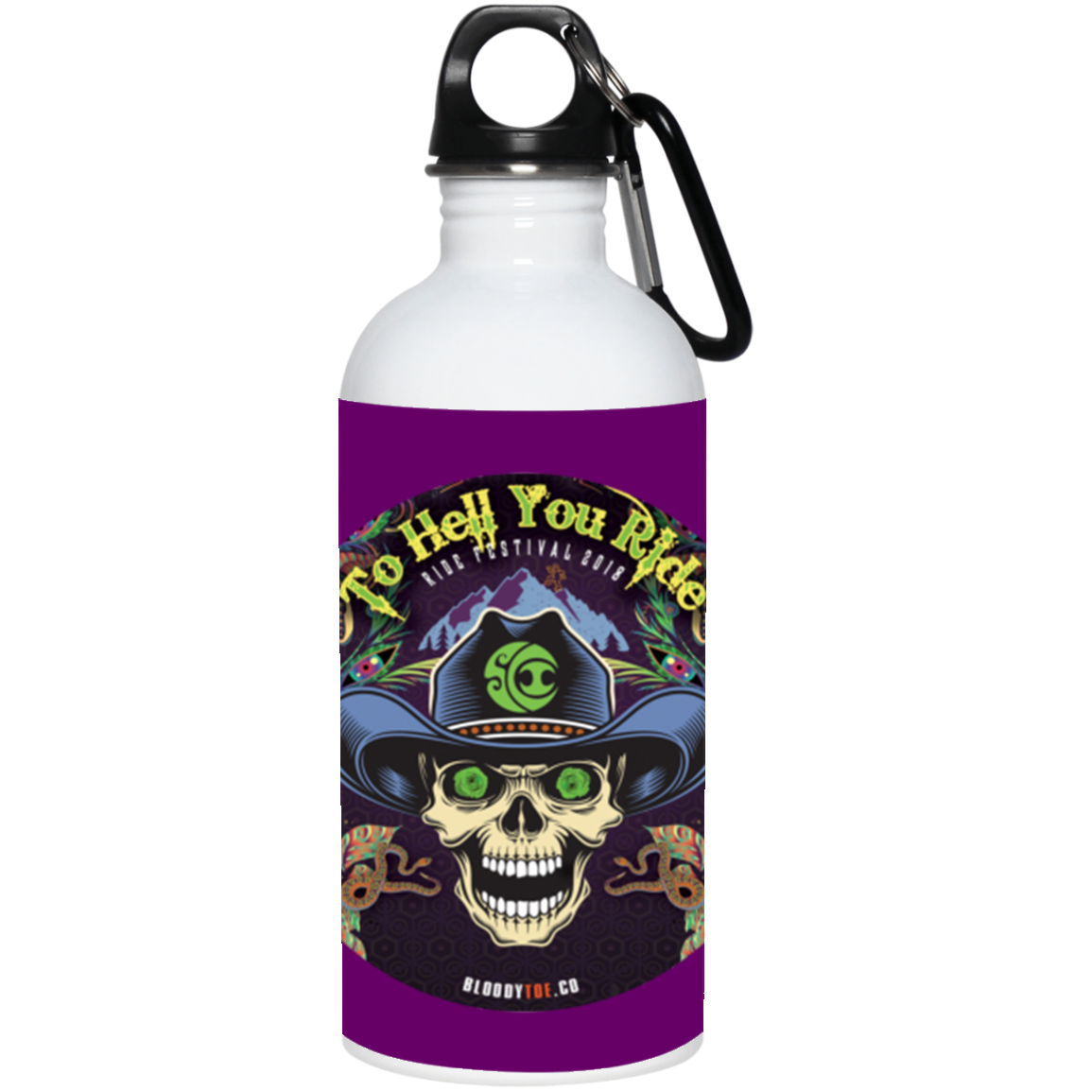 """To Hell You Ride"" 20 oz. Stainless Steel Water Bottle"