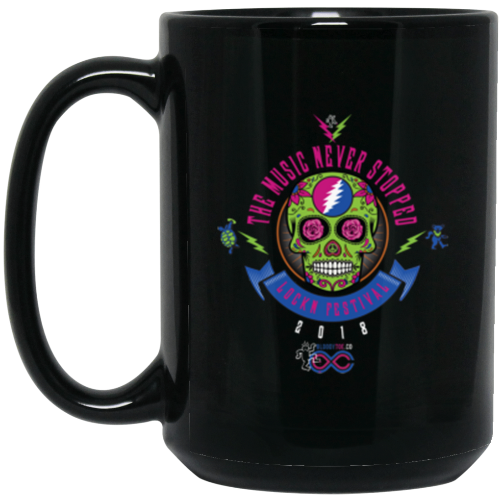 "2018 Lockn' Festival ""The Music Never Stopped"" 15 oz. Black Mug"
