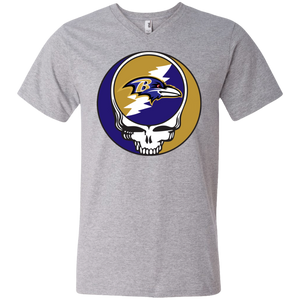 Ravens Grateful Dead Design Men's Short Sleeve V-Neck T-Shirt