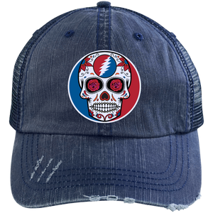 "One of a Kind ""Day of the Grateful Dead"" Distressed Unstructured Trucker Cap"