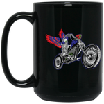 """Skully Biker"" USA 15 oz. Black Mug"
