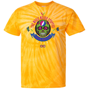 "2018 Lockn' Festival ""The Music Never Stopped"" 100% Cotton Tie Dye T-Shirt Design on Front and Back - 12 Color Options"