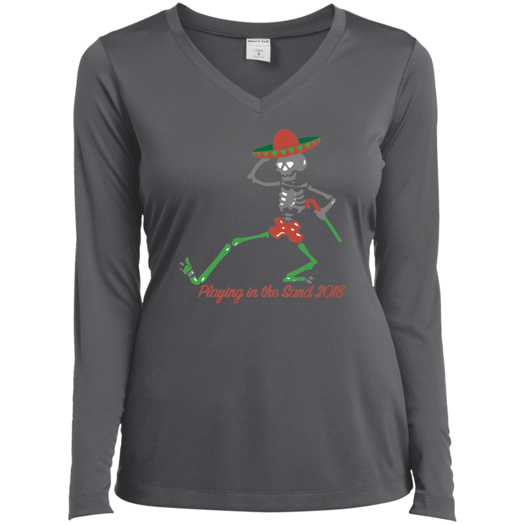 "2018 Playing in the Sand ""Skully Dancer"" Ladies' Sport-Tek Long Sleeve Performance V-Neck T-Shirt - 8 Color Options"