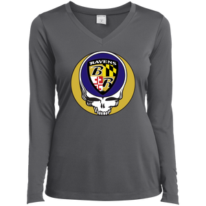 Ravens Shield Grateful Dead Ladies' Sport-Tek Lg Slv Perf V-Neck